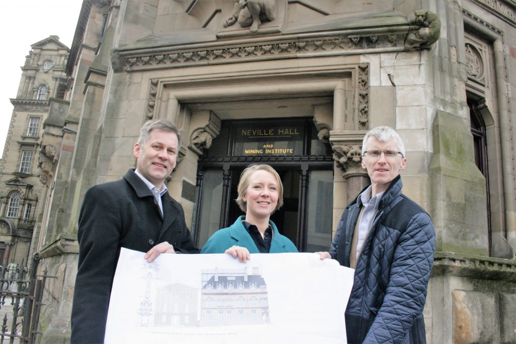 Picture of Liz Mayes, Neil Turner and David Herford outside of Neville Hall